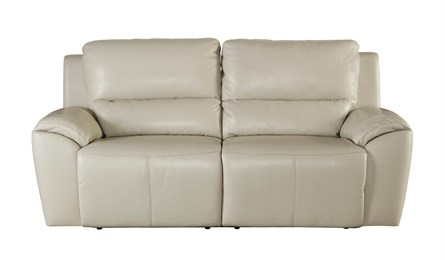 Valeton Leather Two Seat Reclining Sofa Cream