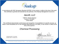 Nadcap Chemical Processing Certificate