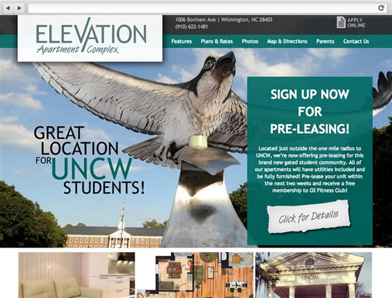 elevation nc apartment complex web design - Apartment Website Design
