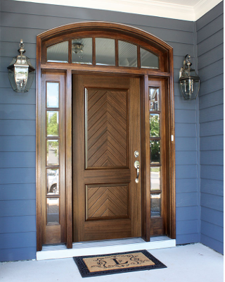 MANCHESTER MAHOGANY SOLID SQUARE PANEL ENTRY DOOR SIDELITES AND ARCHED TRANSOM WITH CLEAR BEVELED LOW- & MANCHESTER MAHOGANY SOLID SQUARE PANEL ENTRY DOOR SIDELITES AND ...