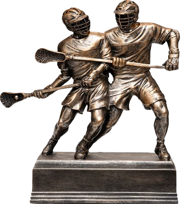 DOUBLE LACROSSE PLAYER RESIN SCULPTURE
