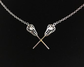 XSNP - Crossed Stick Necklace w/ pearl