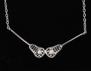 VSNP - Lacrosse Stick Necklace w/ pearl