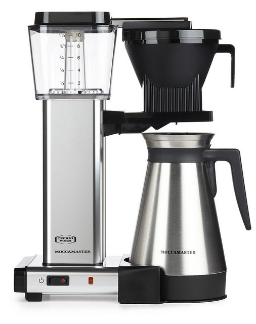 Carolina Coffee Technivorm Moccamaster KBGT Automatic Drip Stop Coffee Maker with Thermal Carafe - Polished Silver